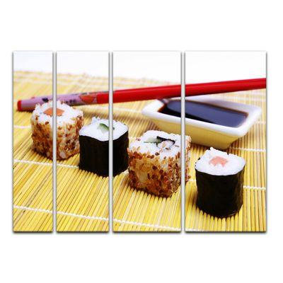 Leinwandbild - Sushi mit Stäbchen und Sojasoße – Bild 10