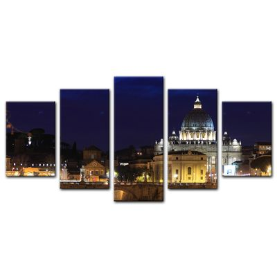 Leinwandbild - Vatican at Night from Ponte Umberto Uno – Bild 10