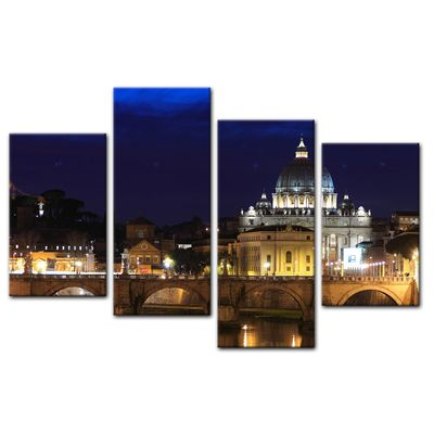 Leinwandbild - Vatican at Night from Ponte Umberto Uno – Bild 12
