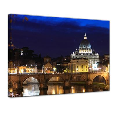 Leinwandbild - Vatican at Night from Ponte Umberto Uno – Bild 1
