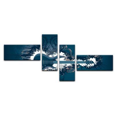Leinwandbild - E-Gitarre Illustration - blau  – Bild 14