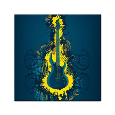 Leinwandbild - E-Gitarre Illustration - gelb  – Bild 2