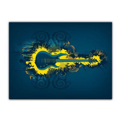 Leinwandbild - E-Gitarre Illustration - gelb  – Bild 5