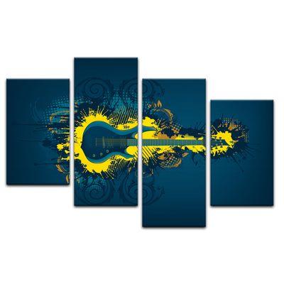Leinwandbild - E-Gitarre Illustration - gelb  – Bild 12