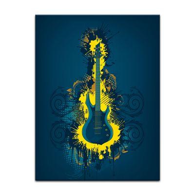 Leinwandbild - E-Gitarre Illustration - gelb  – Bild 3