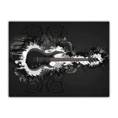 Leinwandbild - E-Gitarre Illustration - sw  – Bild 5