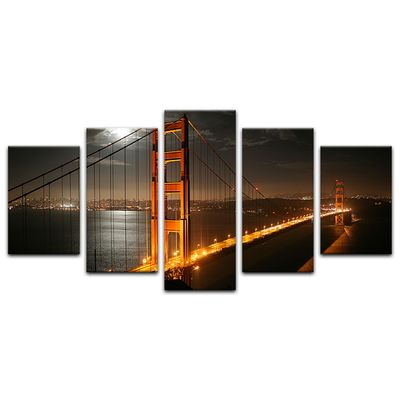 Leinwandbild - Golden Gate Bridge bei Nacht (Vollmond) – Bild 3