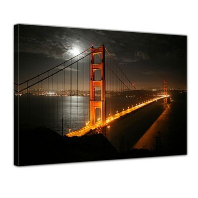Leinwandbild - Golden Gate Bridge bei Nacht (Vollmond) – Bild 1