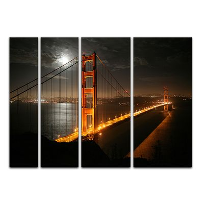Leinwandbild - Golden Gate Bridge bei Nacht (Vollmond) – Bild 12