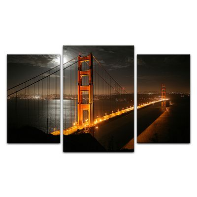 Leinwandbild - Golden Gate Bridge bei Nacht (Vollmond) – Bild 4