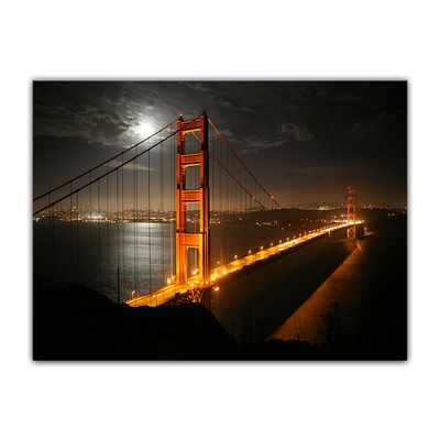 Leinwandbild - Golden Gate Bridge bei Nacht (Vollmond) – Bild 6