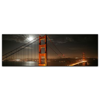 Leinwandbild - Golden Gate Bridge bei Nacht (Vollmond) – Bild 7