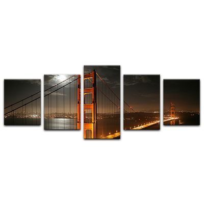 Leinwandbild - Golden Gate Bridge bei Nacht (Vollmond) – Bild 8