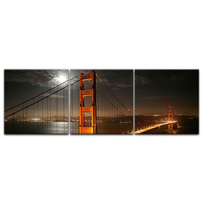 Leinwandbild - Golden Gate Bridge bei Nacht (Vollmond) – Bild 11