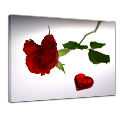 Leinwandbild - Rose mit Herz – Bild 1