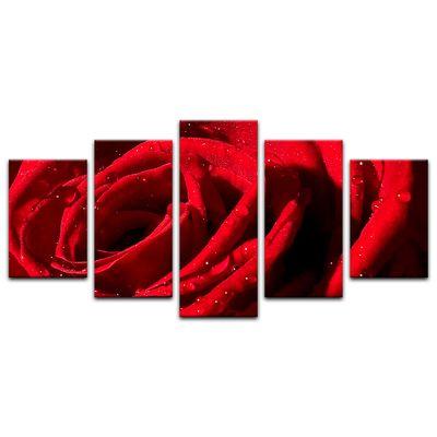 Leinwandbild - Rote Rose mit Wassertropfen – Bild 10