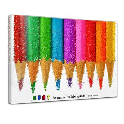 Leinwandbild mit Zitat - Bunt ist meine Lieblingsfarbe. (Walter Gropius) – Bild 1