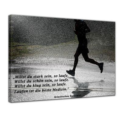 Leinwandbild mit Zitat - Laufen ist die beste Medizin. (Griechisches Sprichwort) – Bild 1