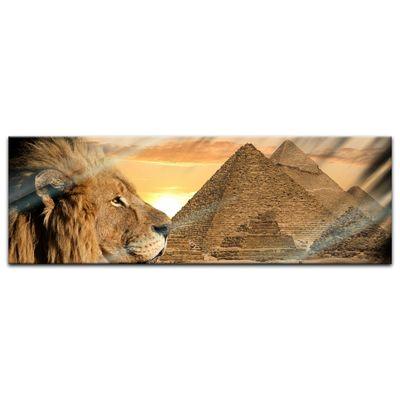 Glasbild - Löwe Pyramiden – Bild 4