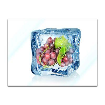 Glasbild - Eiswürfel Weintrauben blau – Bild 2