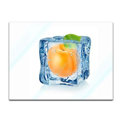 Glasbild - Eiswürfel Aprikose – Bild 3