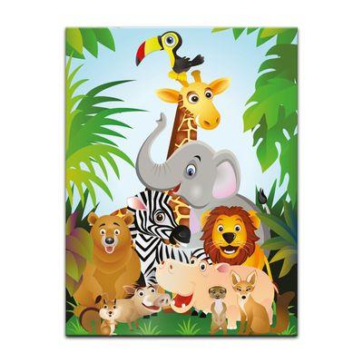 Glasbild - Kinderbild Dschungeltiere Cartoon II – Bild 3