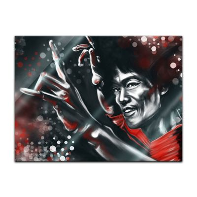 Glasbild - Bruce Lee in rot – Bild 2