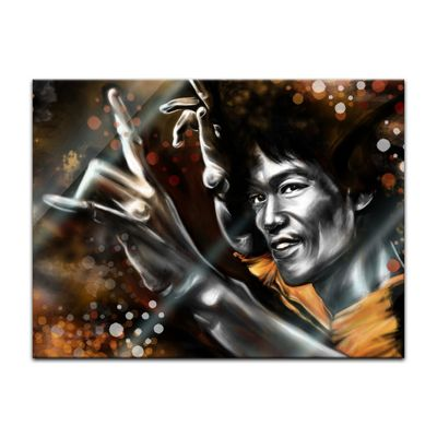 Glasbild - Bruce Lee in gelb – Bild 2
