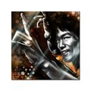 Glasbild - Bruce Lee in gelb 001