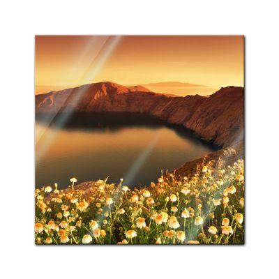 Glasbild - Sonnenaufgang über Santorini - Griechenland – Bild 1