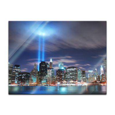 Glasbild - New York City Manhattan at night - USA – Bild 2