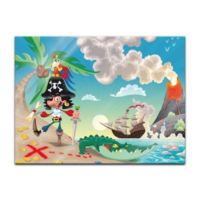 Glasbild - Kinderbild Pirat auf Insel Cartoon – Bild 3