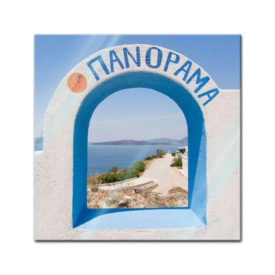 Glasbild - Santorini Tor II – Bild 1