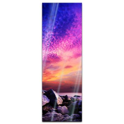 Glasbild - Sonnenuntergang über Felsenküste – Bild 4