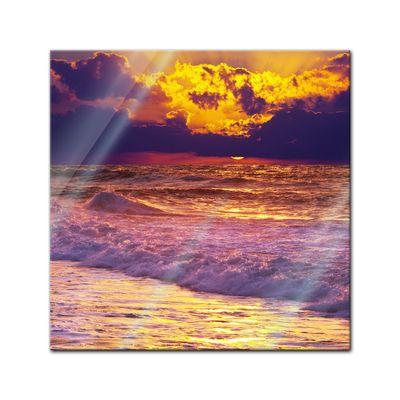 Glasbild - Strand Sonnenuntergang III – Bild 1