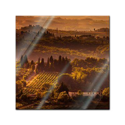 Glasbild - Toskana im Sonnenuntergang II – Bild 1
