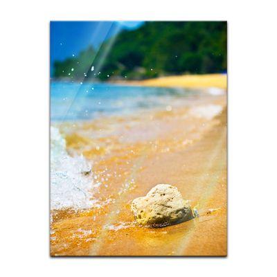Glasbild - Tropischer Strand mit Stein – Bild 2
