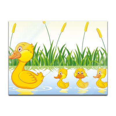 Glasbild - Kinderbild Entenfamilie – Bild 2