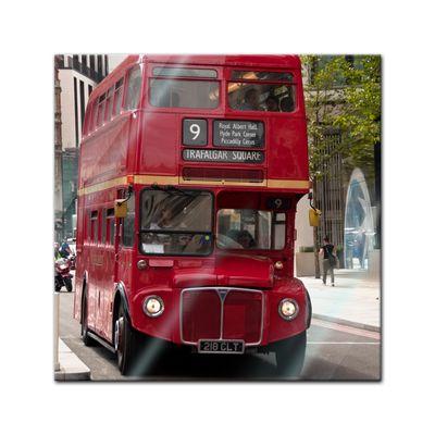 Glasbild - Alter Doppeldeckerbus London – Bild 1