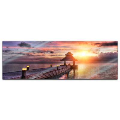 Glasbild - Sunset over Maledives - Sonnenuntergang über den Malediven – Bild 3