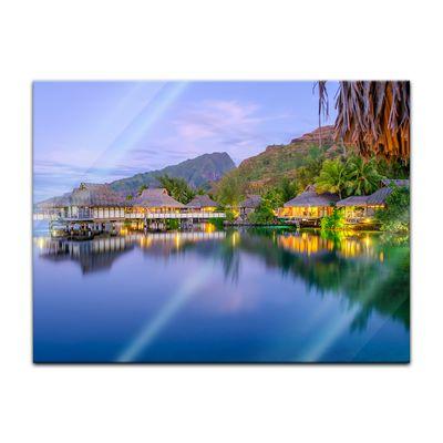 Glasbild - Wasserbungalows in französisch Polynesien – Bild 2