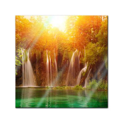 Glasbild - Wasserfall, Plitvice Kroatien – Bild 1