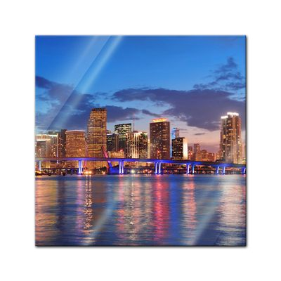 Glasbild - Miami Night Scene - USA – Bild 1