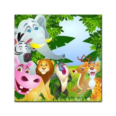Glasbild - Kinderbild - Tiere Cartoon II – Bild 1