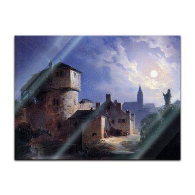 Glasbild Carl Spitzweg - Alte Meister - Mondschein über dem Dorf  – Bild 2