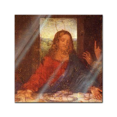 Glasbild Leonardo da Vinci - Alte Meister - Das Abendmahl - Jesus Detail  – Bild 1