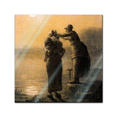 Glasbild Jean-François Millet - Alte Meister - Wäschetrocknen im Mondschein  – Bild 1