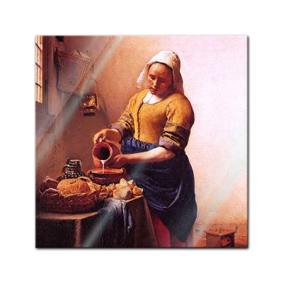 Glasbild Jan Vermeer - Alte Meister - Dienstmagd mit Milchkrug  – Bild 1