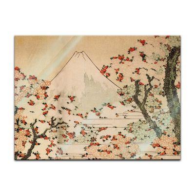 Glasbild Katsushika Hokusai - Alte Meister - Blick auf den Fujijama mit blühenden Kirschbäumen  – Bild 2