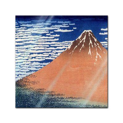 Glasbild Katsushika Hokusai - Alte Meister - Roter Fuji  – Bild 1
